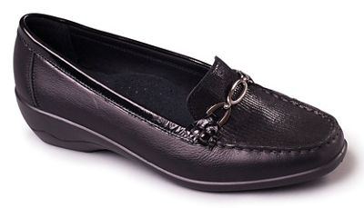 Padders - Black leather 'Ellen' mid heel wide fit shoes