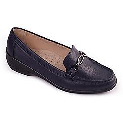 Padders - Navy leather 'Ellen' mid heel wide fit shoes