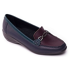 Padders - Navy leather 'Ellen' mid heel wide fit shoes