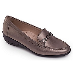 Padders - Dark grey leather 'Ellen' mid heel wide fit shoes