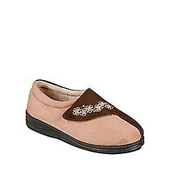 Padders - Camel 'Hug' ballerina memory foam slippers