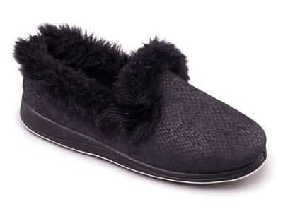 Padders - Black 'Luxury' women's memory foam slippers