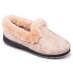 Padders - Beige 'Luxury' women's memory foam slippers