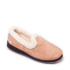 Padders - Light tan 'Repose' wide fit slippers
