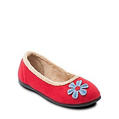 Padders - Red 'Happy' ballerina memory foam slippers