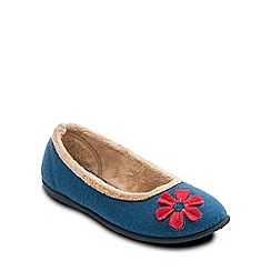 Padders - Blue 'Happy' ballerina memory foam slippers