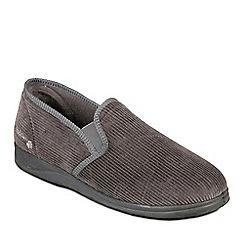 Padders - Grey 'Albert' Wide Fit Slippers