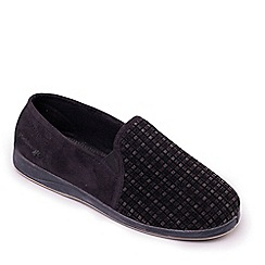 Padders - Black 'Albert' Wide Fit Slippers