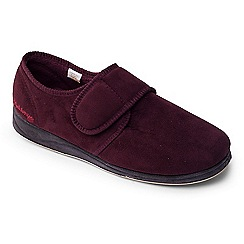 Padders - Dark red 'Charles' wide fit slippers