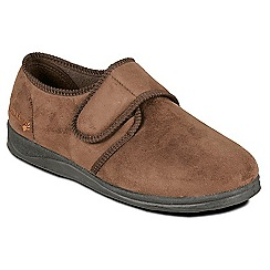 Padders - Brown 'Charles' wide fit slippers