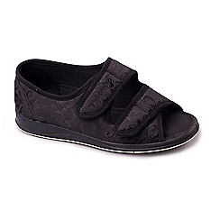 Padders - Black 'Lydia' wide fit slippers