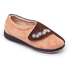 Padders - Taupe 'Hug' wide fit slippers