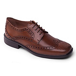 Padders - Light tan leather Reid' wide fit lace up shoes