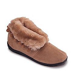 Padders - Light Tan 'Eskimo' Wide Fit Slippers