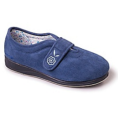Padders - Light blue 'Camilla' wide fit slippers