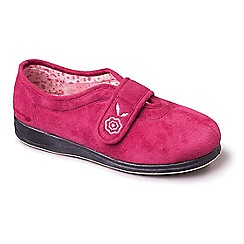 Padders - Dark pink 'Camilla' wide fit slippers