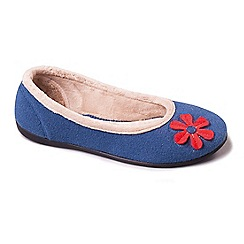 Padders - Blue 'Happy' wide fit slippers
