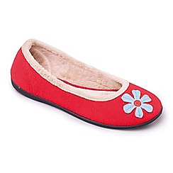 Padders - Red 'Happy' wide fit slippers
