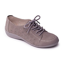 Padders - Grey leather 'darcy' wide fit slip on shoes