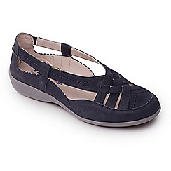 Padders - Navy leather 'delta' wide fit slip on shoes