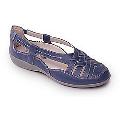 Padders - Light blue leather 'delta' wide fit slip on shoes