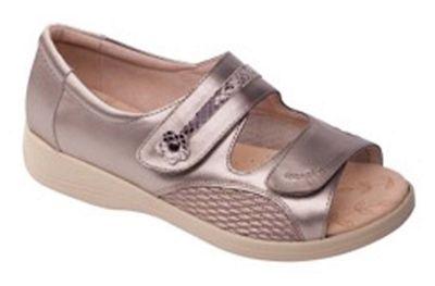 Padders Padders Padders - Metallic leather 'Grace' wide fit sandals 522ee5
