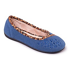 Padders - Blue 'Savannah' ballerina memory foam slippers