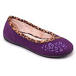 Padders - Lilac/Wisteria 'Savannah' ballerina memory foam slippers