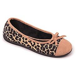 Padders - Camel 'Wild' ballerina memory foam slippers
