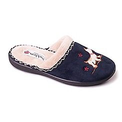 Padders - Navy 'Scotty' women's memory foam slippers