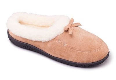 Padders - Taupe/Camel 'Snug' women's memory foam slippers
