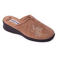 Padders - Camel 'Sable' womens memory foam slippers