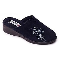 Padders - Navy 'Sable' womens memory foam slippers