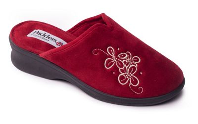 Padders - Red 'Sable' womens memory foam slippers