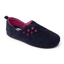 Padders - Navy 'Riva' women's felt memory foam slippers