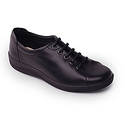 Padders - Black leather 'Galaxy' mid heel lace up shoes