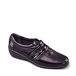 Padders - Black Leather 'Velvet' Wide Fit Shoes