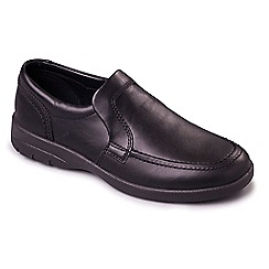 Padders - Black leather 'Leo' wide fit shoes