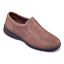 Padders - Taupe leather 'Leo' wide fit shoes