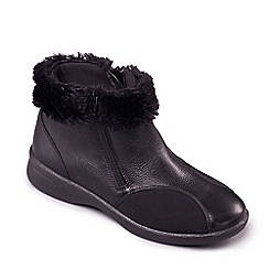 Padders - Black leather 'Adele' wide fit boots