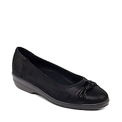 Padders - Black leather 'Fiona' wide fit shoes