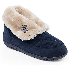Padders - Navy 'Eden' womens memory foam slippers