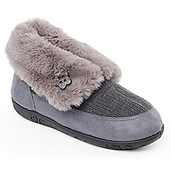 Padders - Grey 'Eden' womens memory foam slippers