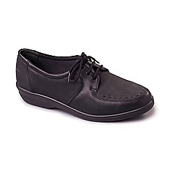 Padders - Black leather 'Aster' mid heel wide fit shoes