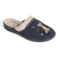Padders - Navy 'Tabby' mule slipper