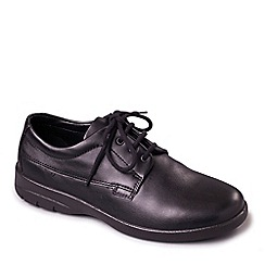 Padders - Black leather 'Lunar' wide fit shoes