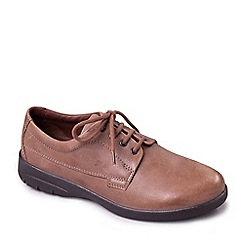 Padders - Taupe leather 'Lunar' wide fit shoes