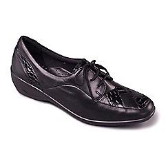 Padders - Black leather 'Greta' mid heel wide fit shoes