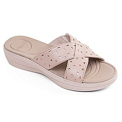 Padders - Beige leather 'Clara' mid heel wide fit mules