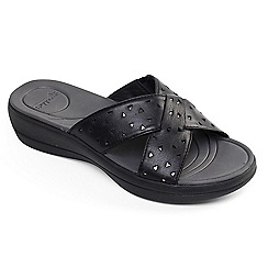 Padders - Black leather 'Clara' mid heel wide fit mules